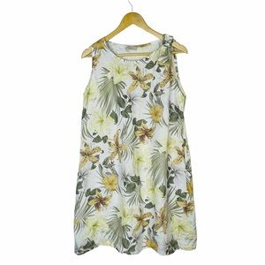 Bella Umbra Dress Linen Floral Italy XL Shift .